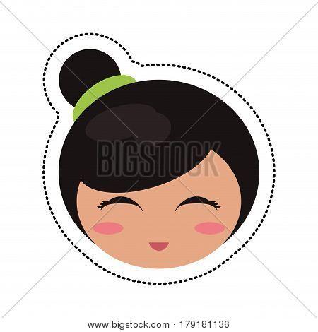 kokeshi head traditional culture vector illustration eps 10