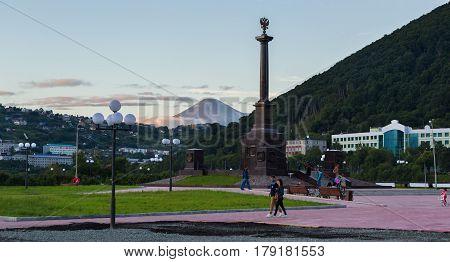Petropavlovsk-Kamchatsky, Russia - August 14, 2016: Stela City of Military Glory in Petropavlovsk-Kamchatsky.