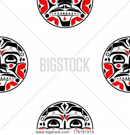 Vector illustration of the sun symbol. Modern stylization of North American and Canadian native art in black and red with native ornament seamless pattern