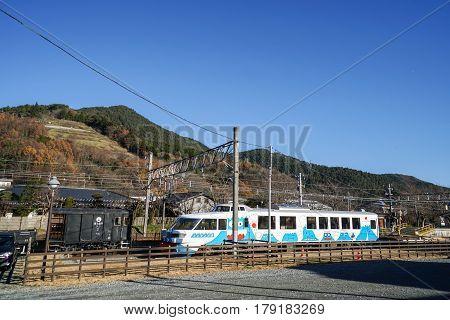 cartoon design railway train with clear blue sky backdrop taken in Tokyo Japan on 2 December 2016