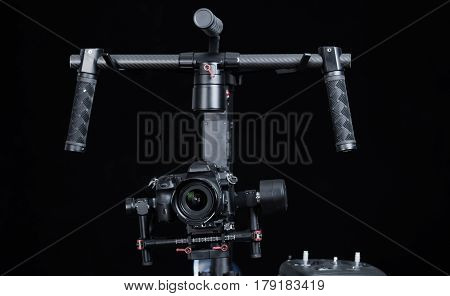Close up shot of hand held camera stablizer equipment for professional photography