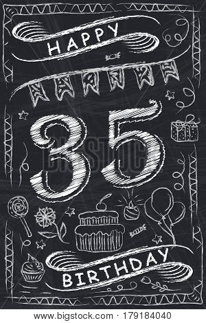 Anniversary Happy Birthday Card Design On Chalkboard. 35 Years