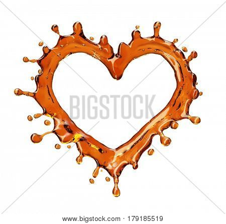 Heart from cola splash with bubbles isolated on white background