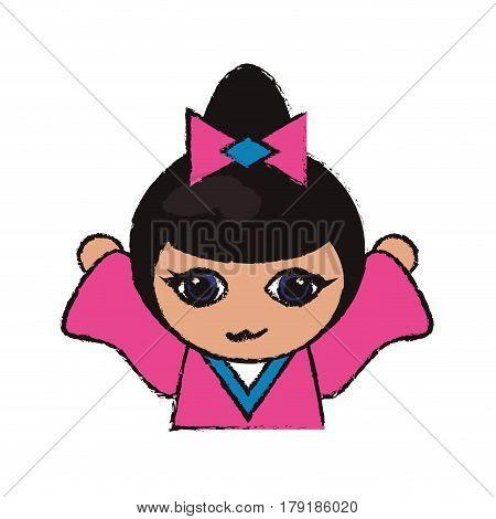 cute portrait kokeshi doll cheerful vector illustration eps 10