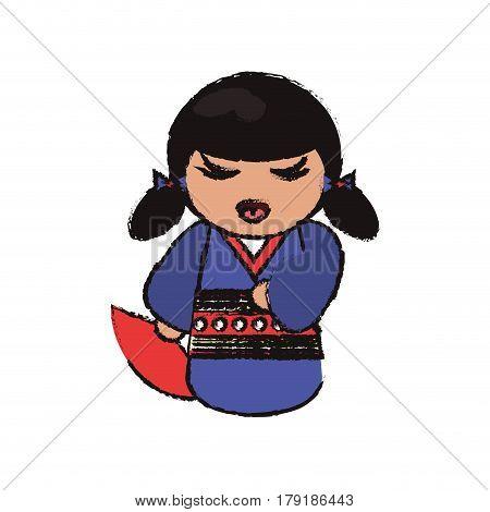 kokeshi doll handmade decoration image vector illustration eps 10