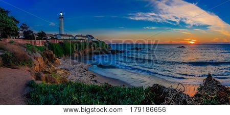 Panorama Of Pigeon Pight Lightouse In California At Sunset