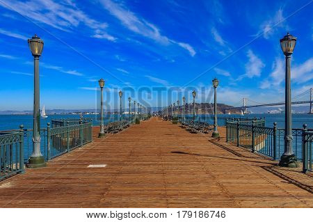 San Francisco Wooden Pier 7 On A Sunny Day