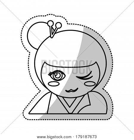 kokeshi doll souvenir outline vector illustration eps 10