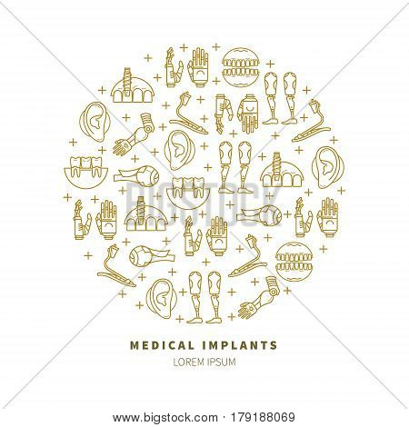Vector illustration in a linear style with a variety of medical prosthesis. Dental surgery, prosthetic arms, legs, eyes. Medical prosthesis poster.