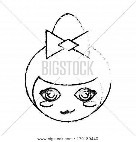 face kokeshi doll sketch vector illustration eps 10