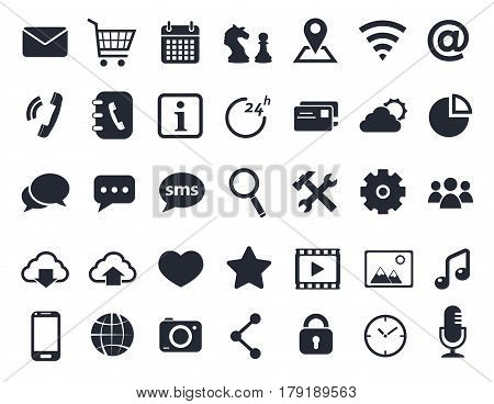 communication, media and mobile icons foe web