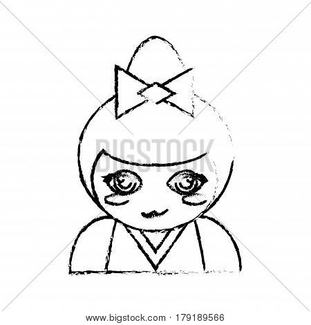 portrait kokeshi doll chinese sketch vector illustration eps 10