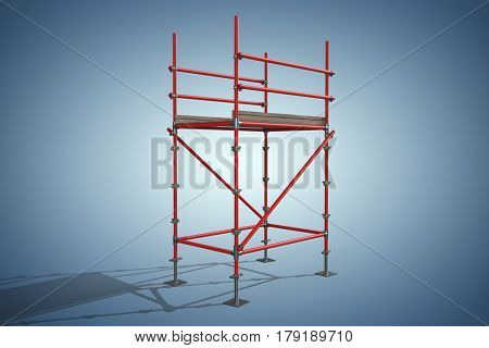 Three dimension image of red scaffolding structure against purple vignette