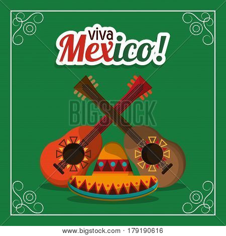 viva mexico - guitars and hat party vector illustration eps 10