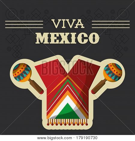 viva mexico traditional clothes maracas vector illustration eps 10