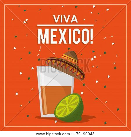 viva mexico greeting tequila hat design vector illustration eps 10