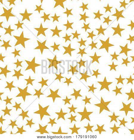 Golden stars seamless festive pattern, glittering stars confetti, sweet nursery bedroom decoration, shiny luxury light design on white background, vector illustration