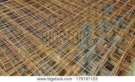 reinforcing mesh steel bars stacked for construction