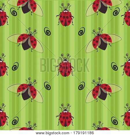 ladybug seamless pattern. Stylized images of ladybugs on a striped background, a character of children's cartoons. Design for textiles, tapestries, packaging, environmental background of the poster.