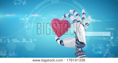 3d image of cyborg holding red heart shape decor against digitally generated image of speedometer