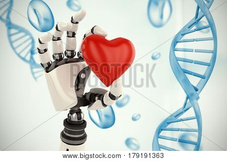 3d image of cyborg showing red heart shape decor against blue chromosomes on blue background