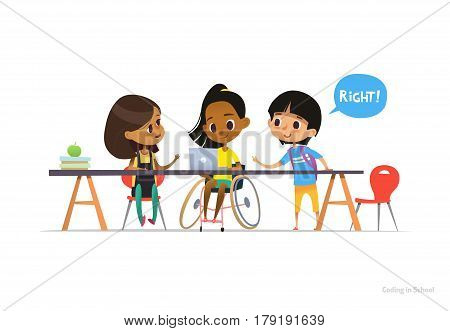 Disabled girl in wheelchair sitting at laptop with pair of school friends helping her to learn coding. Inclusive education concept. Vector illustration for website, advertisement, banner, poster.