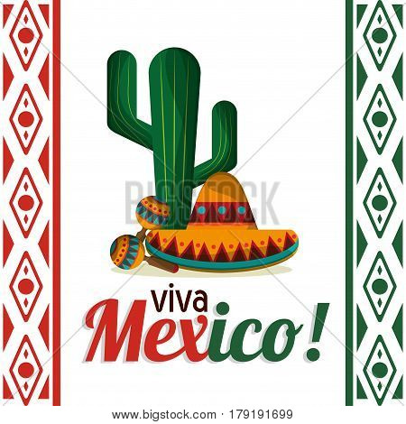 viva mexico - cactus maracas and hat vector illustration eps 10