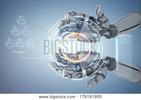 Composite image of robotic hands against white backgroun against digital image of globe with big data text and social connectivity 3d