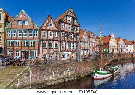 STADE, GERMANY - MARCH 27, 2017: Historical sailing ship in the old harbor of Stade, Germany