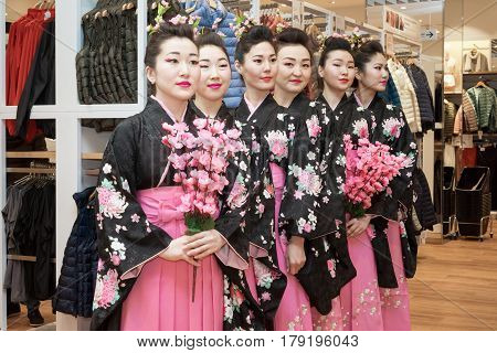 Moscow, Russia - March 24, 2017: Group Of Japanese Geisha Girls In Traditional Kimono In Riviera Sho