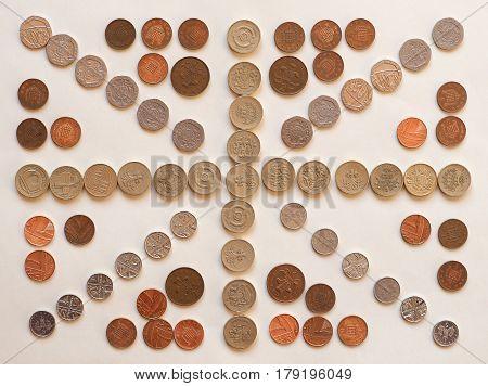 Flag Of The United Kingdom (uk) Aka Union Jack Made With Coins