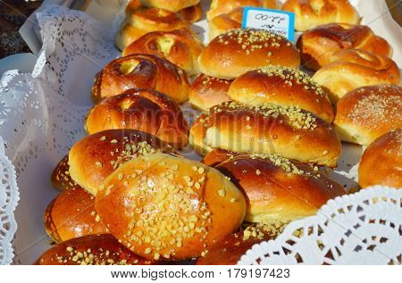 Oven fresh home made baked patties. Delicious pastries on a baking sheet. Russian pirozhki. Traditional russian pies good food for holiday