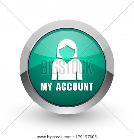 My account silver metallic chrome web design green round internet icon with shadow on white background.
