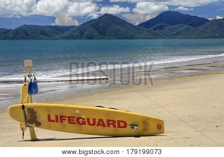 lifeguard board at a Cairns beach on a summer day