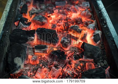 Burning Charcoal for a barbecue hot grill