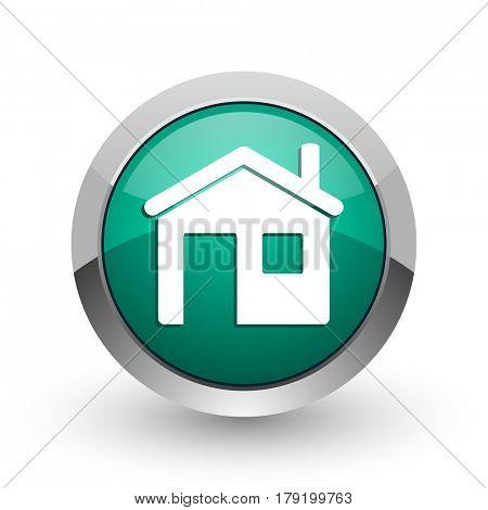 House silver metallic chrome web design green round internet icon with shadow on white background.