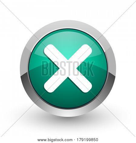 Cancel silver metallic chrome web design green round internet icon with shadow on white background.