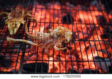 Seafood Squid dinner on a barbecue grill