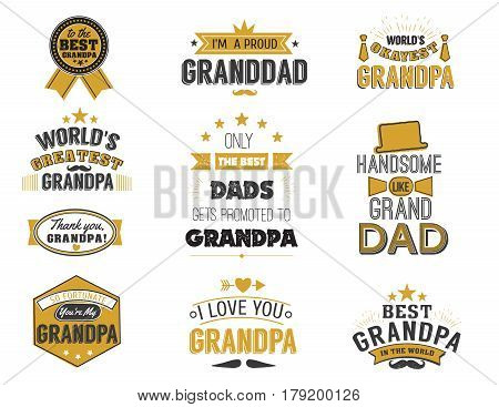 Isolated Grandfathers quotes on the white background. Grandpa congratulation label in black and gols colors, badge vector collection. Granddads Mustache, hat, stars elements for design.
