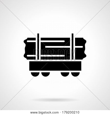 Monochrome abstract symbol of railway car for wood transportation. Railroad theme. Symbolic black glyph style vector icon.