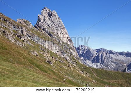 Seceda mountain on a sunny day, Dolomites, Italy