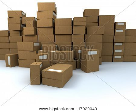 Huge pile of cardboard boxes