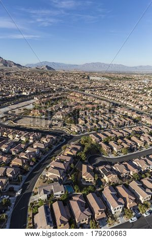 Aerial view of modern suburban residential area in Las Vegas, Nevada.