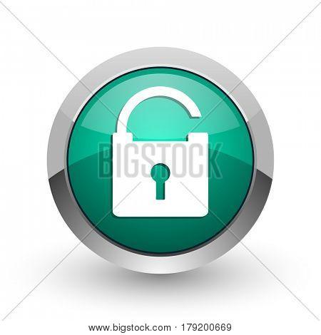 Padlock silver metallic chrome web design green round internet icon with shadow on white background.