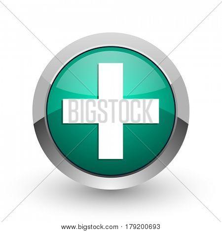 Plus silver metallic chrome web design green round internet icon with shadow on white background.