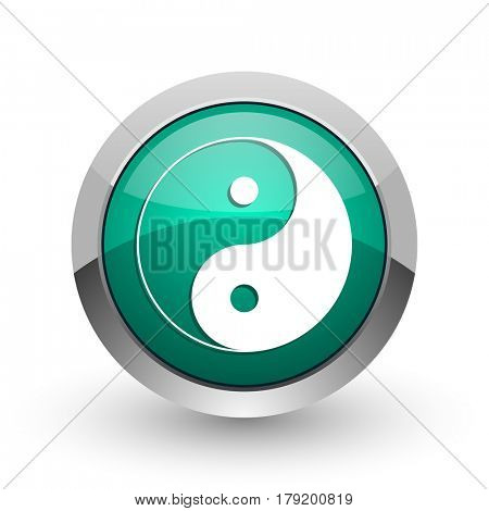 Ying yang silver metallic chrome web design green round internet icon with shadow on white background.