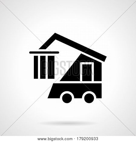 Abstract monochrome symbol of hookfit loader car with container. Railroad logistics and cargo. Symbolic black glyph style vector icon.