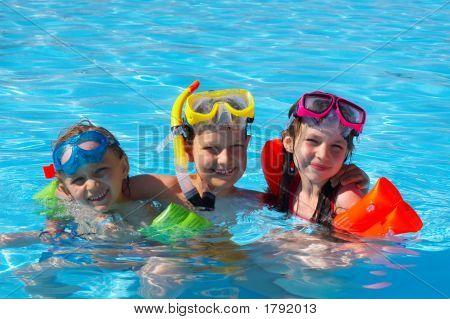 Happy Children In Pool