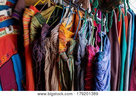 Textile goods for sale on the indian market