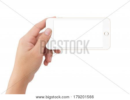 Isolated Human Left Hand Holding White Mobile Phone